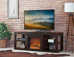 Parsons Electric Fireplace TV Stand and Deluxe Desk Bundle,