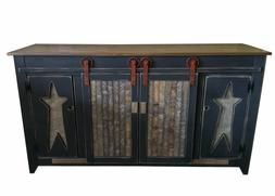 """Primitive Rustic Country 60"""" TV Stand with Sliding Doors - A"""