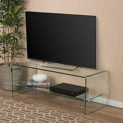 Ramona Glass Entertainment TV Console Stand with Shelf by Cl