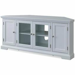 """Leick Riley Holliday 57"""" Corner TV Stand in White"""
