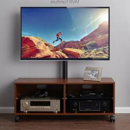 Rolling Wood TV Stand with Swivel Mount Height Adjustable fo