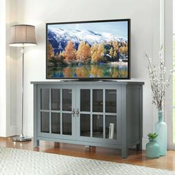 Rustic TV Console Cabinet Sideboard Buffet Style 55 Inch Gla