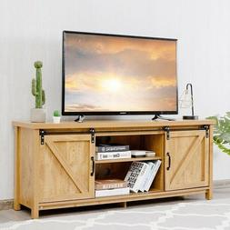 Rustic TV Stand 55 Inch Country Farmhouse Media Cabinet Slid