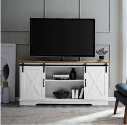 """Rustic TV Stand Console Up To 65"""" Barn Door Wood Farmhouse E"""