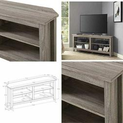 simple farmhouse wood corner stand for tv