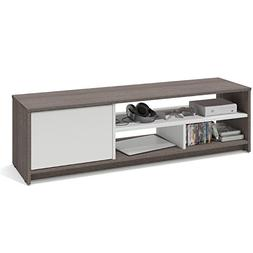 """Bestar Small Space 53.5"""" TV Stand in Bark Gray and White"""