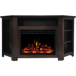Stratford Electric Fireplace Heater with 56-In. Mahogany Cor