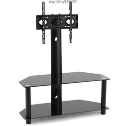 Swivel Floor TV Stand with Mount 2-Tier Glass Shelf for 32-5