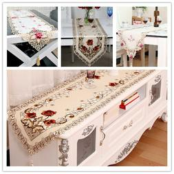 Tasseled Edge Table Runner Floral Lace Embroidered Tableclot