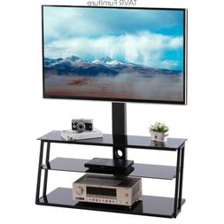 TAVR TV Stand with Swivel Mount and 3-Tier Storage Shelf for