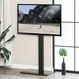 Tempered Glass Base Metal TV Stand With Swivel Mount For 32-