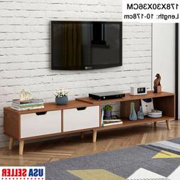TV Cabinet Stand Telescopic Storage Shelves Drawers Home Fur