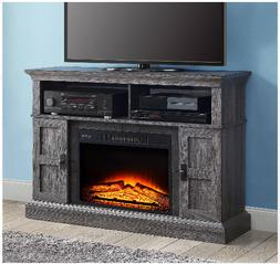 TV Media Stand Electric Fireplace Heater Remote Control Rust