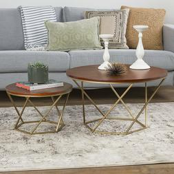 TV Stand Two Set Round Cocktail End Coffee Table Modern Sofa