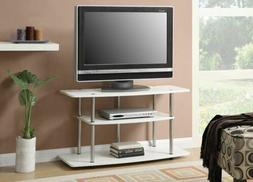 White Finish 3-Tier TV Stand Media Storage Console Shelving