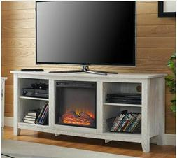 Whitewash Electric Fireplace TV Stand Rustic Media Center Co