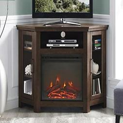 "WE Furniture 48"" Wood Corner Fireplace Media TV Stand Consol"