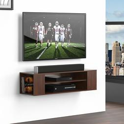 Wood Floating Wall Mount Shelves TV Stand Media Console with