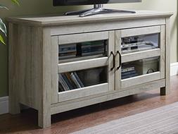 """WE Furniture 44"""" Wood TV Media Stand Storage Console - White"""