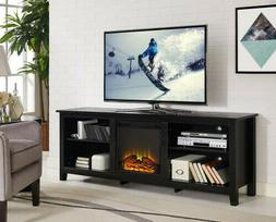 """Wood TV Stand Console Fireplace Black 70"""""""