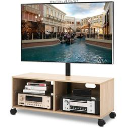 Wood TV Stand Console with Mount and Wheels for Most 32-65 I