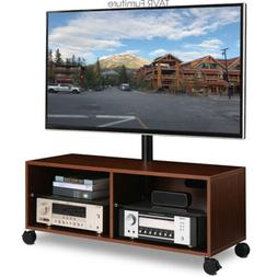 Wood TV Stand with Wheels Swivel Mount Height Adjustable for